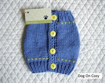 Dog Sweater Vest - SMALL - with Buttons Up Back - Blue