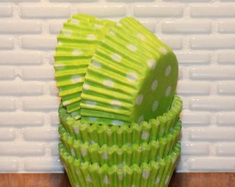 Mini Lime Green Polka Dot Cupcake Liners (Qty 50)  Mini Lime Green Cupcake Liners, Mini Lime Green Baking Cups, Mini Cupcake Liners