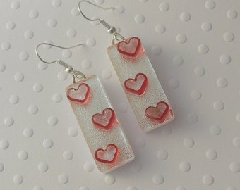 Red Heart Earrings, Dichroic Fused Glass Earrings, Heart Earrings, Valentine Earrings, Gift For Her X3784