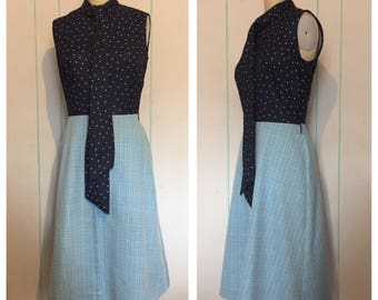 Blue Polkadot Sleeveless Dress Size 10