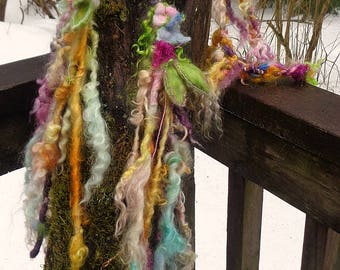 soft artyarn garland lariat woodland flower fantasy scarf  -  wild wood lady