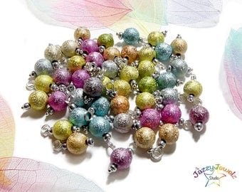 Pre-Wired Glittery Charms, beaded charms for DIY Charm Bracelets - mixed colours beads - jewellery supplies UK