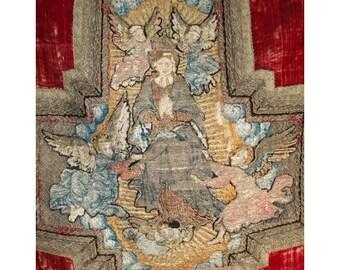 Rare Antique Angels Vestment Embroidered Silk Velvet Metallic Trim