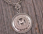CLEARANCE Transit Token Jewelry - Coin Jewelry - Personalized Initial M - Midwest Transit Lines, Ames Iowa, Transit Token Pendant Necklace -