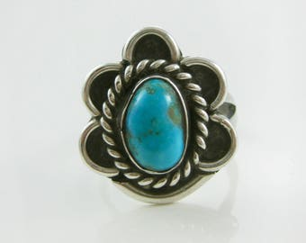 Ring Size 7 1/2 Vintage Turquoise Sterling Silver Ring