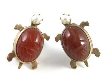 Vintage Gold Filled Carnelian Turtle Pierced Earrings