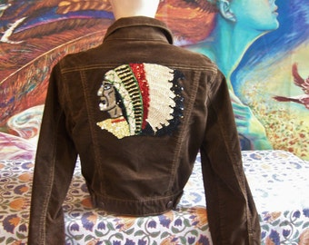 Corduroy crop Jacket, Native American, Brown crop Jacket, Indian Jacket, Up-cycle Jacket, size M
