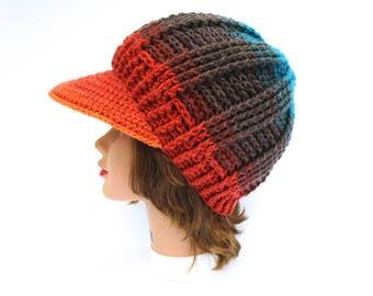 Crochet Newsboy Cap - Thunderbird Hat - Brimmed Beanie - Hat With Brim - Women's Cap - Visor Hat - Colorful Cap in Blue Brown Orange