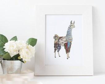 Llama Print Wall Art Giclee