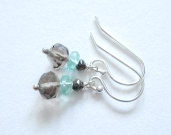 Smoky quartz and aquamarine earrings