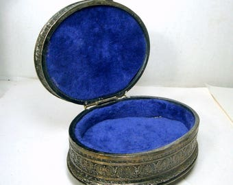 Ornate Silver Metal Hinged Box, Jewelry Box, 1960s Oval Lovers Scene Dresser Box, Blue Lining, Footed Box, Rococco,  Darkened Finish
