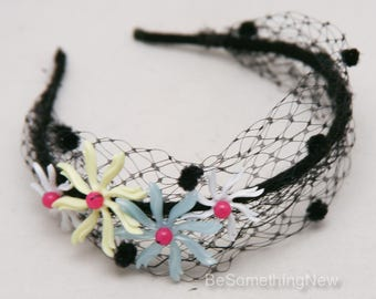 Black Net Headband with Vintage Flowers, Colorful Floral Headband, Bohemian Hair Accessory Vintage Hair Accessory