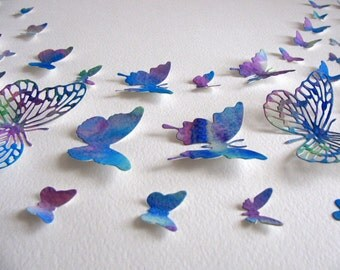 11X14 Handpainted, Watercoloured 3D Butterfly Wall Art / Cobalt Blue, Royal Blue, Purple, Violet, Touch of Green / Ready to Ship