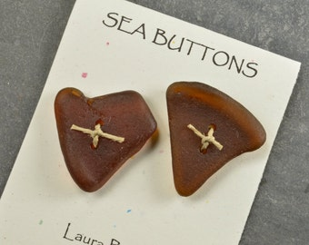 Funny hearts   a set of two large molasses brown  authentic Maine sea glass buttons for sweaters shawls kniiting craft