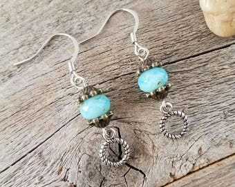 Handmade jewelry, handmade earrings, boho jewelry, boho earrings, bohemian jewelry, blue jewelry, blue earrings, spring jewelry, summer