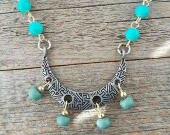 Blue beaded jewelry, blue jewelry, blue necklace, turquoise jewelry, turquoise necklace, boho jewelry, bohemian jewelry, blue accessories