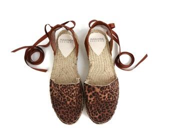 Espadrille Sandals. Leopard Print Espadrilles. Summer Leather and Fabric Shoes. Women's Sandals. Greek Sandals.