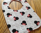 Minnie Mouse Reversible Baby Bib, Red Polka Dot, Triple Layer, Snap Closure, ready to ship