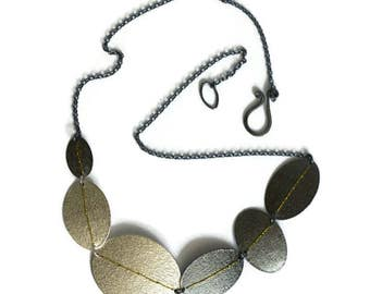 Silver and oxidised Sewn Up disc necklace - Statement necklace with gold thread