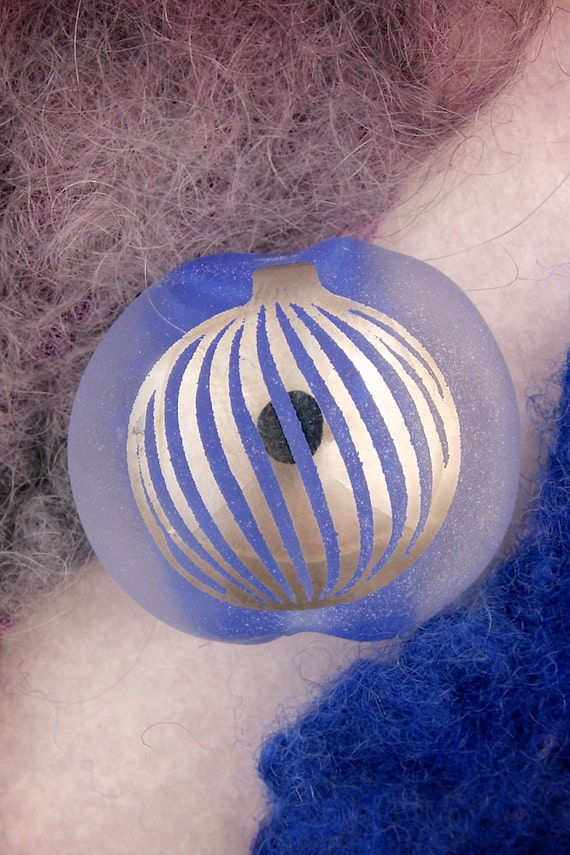 "Lampwork Beads SRA ""Blue Bauble"" Handmade Sandblasted Glass Focal Bead Lentil Platinum Lustre"