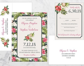 Tropical Wedding Invitation, Floral Wedding Invitation, Destination Wedding, Beach Wedding, Hibiscus Flower  DEPOSIT