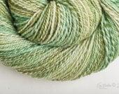2ply dk weight sw merino hand dyed Handspun yarn in Lichen - 300 yds