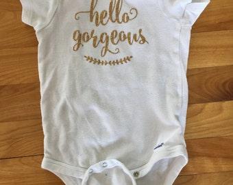Hello Gorgeous onesie, kids shirts, onesie