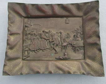 Antique German Calling Card Tray, Plaque Wedding, Dancers in Tavern