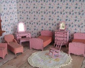 Reserved for D - Vintage Tootsie Toy Dollhouse Furniture - Bedroom Set in Pink - 1930