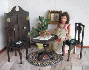 Vintage Doll Furniture-German Style Four Piece Set-Cabinet, Table, Two Chairs w/ Needlepoint Cushions 1:6 Scale