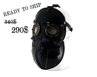 STEAMPUNK LEATHER Mask black leather armor Sturmmann design