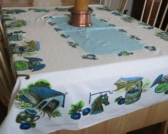 Print Tablecloth 1950s 60s Rectangle Blue Green Graphics Vintage Home Linen  Decor