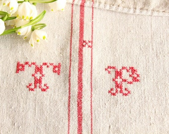 B 943: antique handloomed BRIGHT RED grainsack 리넨, french lin, vintage, decoration, pillow cushion runner wedding 53.54 long