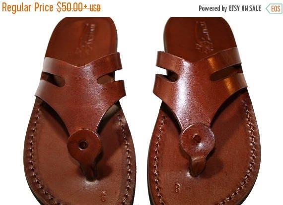 15% Off Brown Arrow Leather Sandals For Men & Women - Handmade Unisex Sandals, Flip Flop Sandals, Jesus Sandals, Genuine Leather Sandals