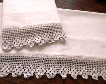 Monocromatic Cotton Pillowcases, Natural, Crocheted Lace Edging, Hand Stitched
