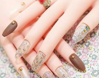 Nails, ballerina nails, coffin nails, matt nails, 24k gold, pretty nails, party nails, Japanese nail art, rhinestone, 2016 nails trend
