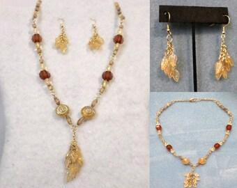 Necklace Set - Light Golden Brown Leaf