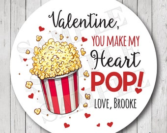 You Make my Heart Pop Labels, Valentine Popcorn Stickers, Popcorn Valentine Tags