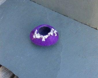 Purple bowl, felt pebble bowl, felted bowl, felt vase, felt stone, wet felted, ring bowl, vessel, trinket bowl, hand dyed silk, home decor
