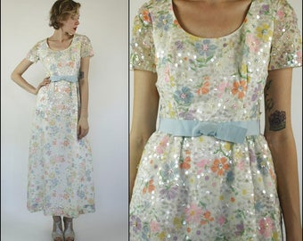 Vintage 60's Wedding Prom Sequin Floral Bow Ribbon Boho Preppy Pastel Colorful white Maxi dress S