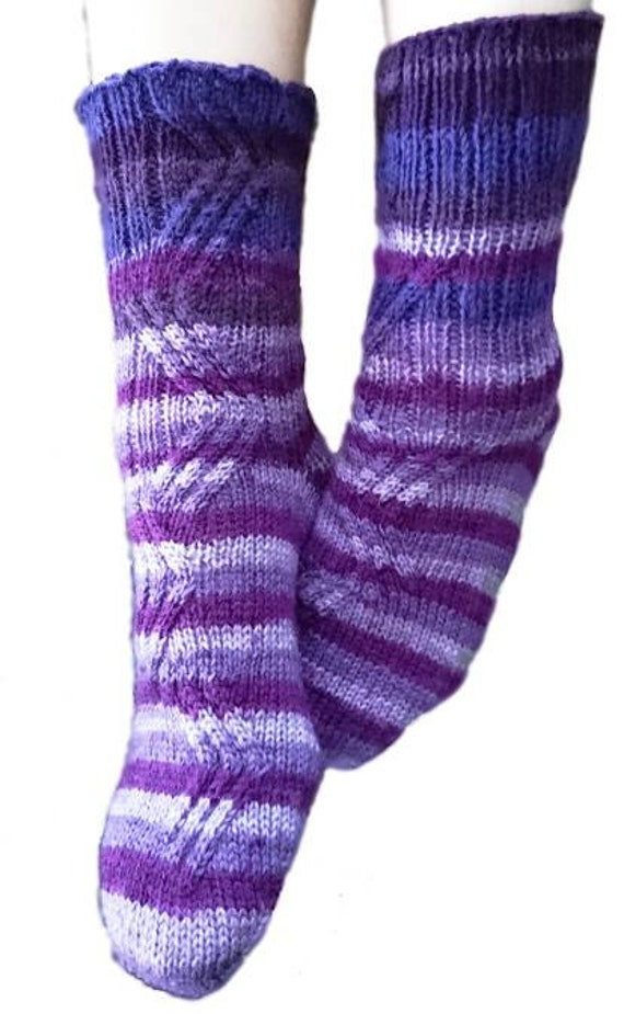 Cable Knit Socks Pattern : Cable Socks Knitting Pattern Warm Winter Wear Handmade Knit