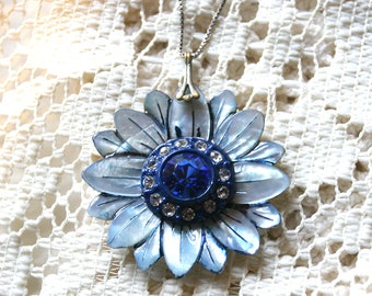 Gorgeous Hand-Painted Mother of Pearl Flower Pendant with Vintage Blue Rhinestone Button Center - 925 Chain