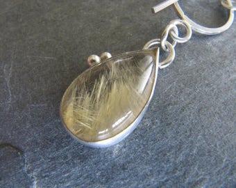 Pendant of Golden Rutilated Quartz in Sterling Silver