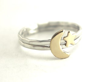 Moon Ring, Star Ring, Hammered Stack Ring, Sterling Rings, Boho Moon Ring, Hipster Rings, Midi Rings, Womens Rings, Crescent Moon Ring