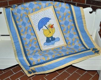 Baby Quilt, Duck With Umbrella