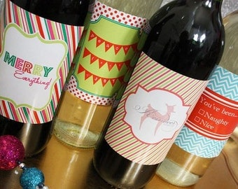 Holiday Wine Label Set- Insta-print