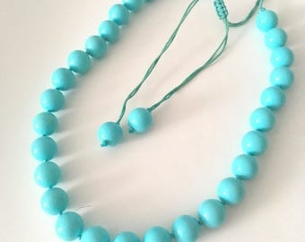 Vintage Quality Aqua Turquoise Glass Bead Boho Necklace