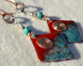 FIELD of DREAMS-Handmade Lampwork, Copper and Sterling Silver Earrings