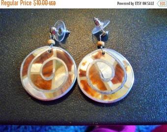 2 DAY SALE Shell Mother Of Pearl type Dangle Earrings, Wood Beads, Pierced Ears