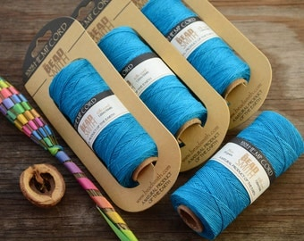 Turquoise Blue Natural Hemp Cord, 10lb cord, spool of 120 meters (394 feet) / Cording, Stringing, Macrame, Eco Friendly Cord / Supplies